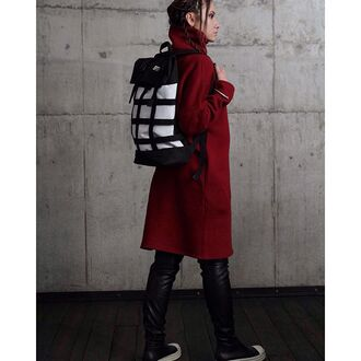 bag backpack black and white white black leather leggings travel bag travel backpack monochrome red coat fusion