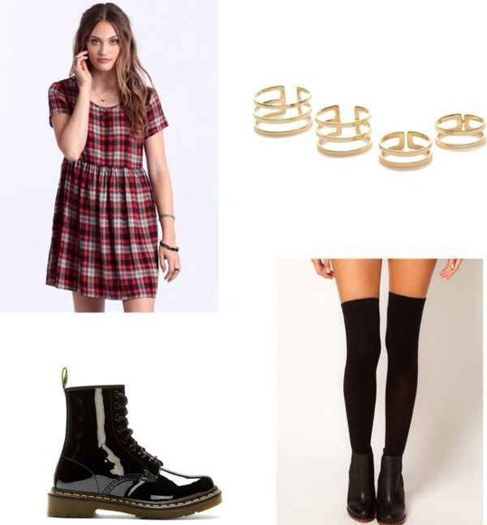 ring gold babydoll dress flannel loose