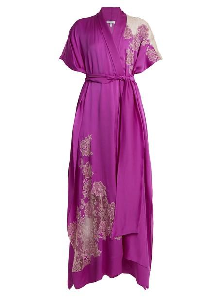 Carine Gilson kimono lace silk satin pink top