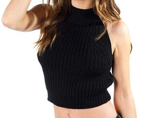 top knitwear crop tops cropped sweater cropped knitted top knit tank knit crop black knit crop sweater knit crop knitcroptank black crop top edgy cropped knit top sexy crop top hot high neck top high neck knitted crop top