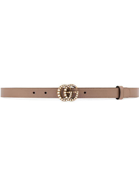 gucci metal women pearl belt leather nude