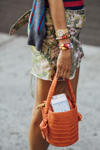 bag tumblr orange orange bag skirt mini skirt floral skirt watch gold watch bracelets floral