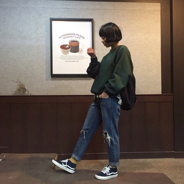 e4314b4c845 sweater socks jeans ripped jeans boyfriend jeans pullover skater outfit  oversized sweater chic streetwear streetstyle green
