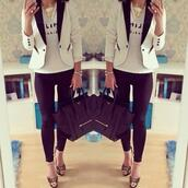 jacket,shoes,bag,pants,jeans,t-shirt,white and black blazer