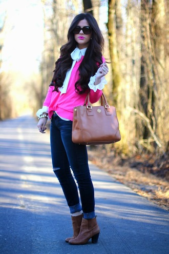 blouse hot pink white blouse denim ankle boots brown leather boots fall outfits tote bag ripped jeans casual preppy lovable
