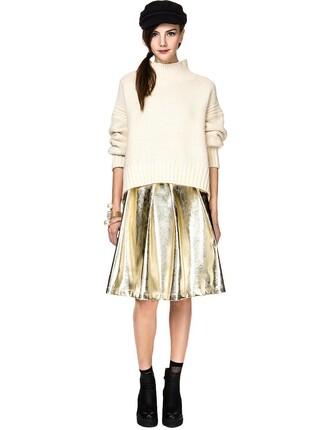 skirt midi skirt metallic skirt party skirt gold leather skirt gold skirt new year's eve pixie market pixie market girl