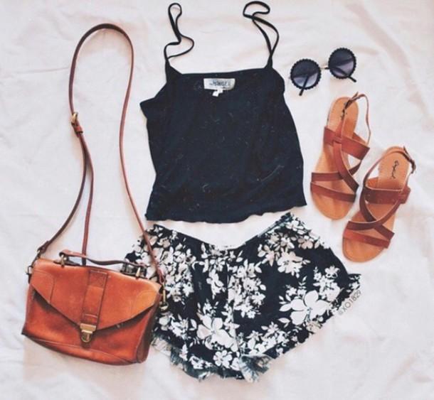 bag brown leather shoulder badg shorts top shoes summer outfits