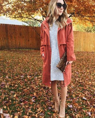 twenties girl style blogger sweater dress coat shoes bag sunglasses fall outfits sweater dress grey dress clutch ankle boots