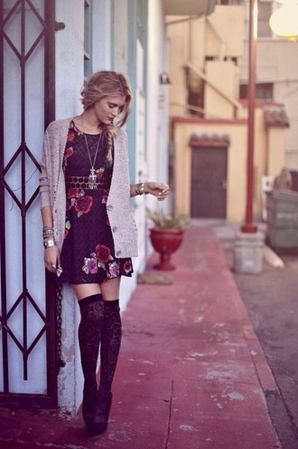 dress floral dress jewels knee high socks lace floral cardigan fall outfits