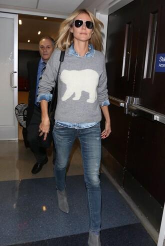 sweater heidi klum grey fall outfits skinny jeans jeans