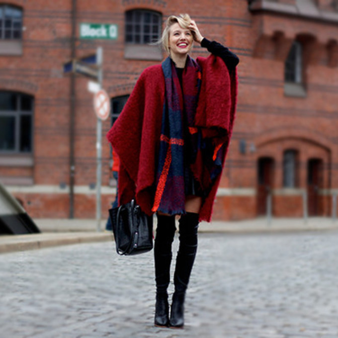 blogger ohh couture poncho thigh high boots scarf red