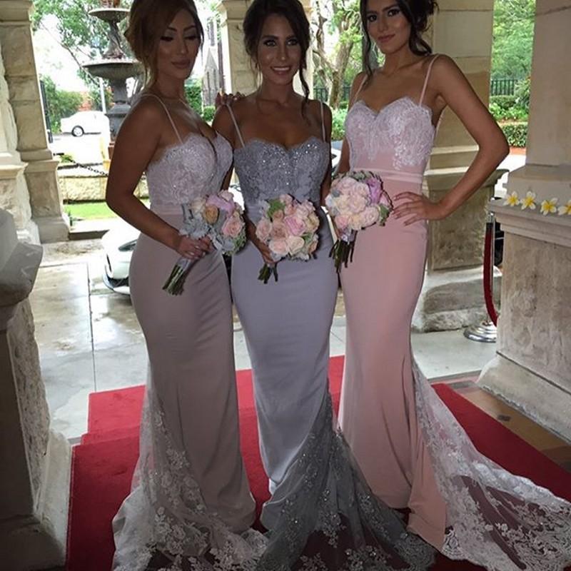 Aliexpress.com   Buy New Spaghetti Straps Mermaid Appliques Beaded Lace  Long Bridesmaid Dresses 2016 Wedding Party Dress robe demoiselle d honneur  from ... f1b1183ffd74