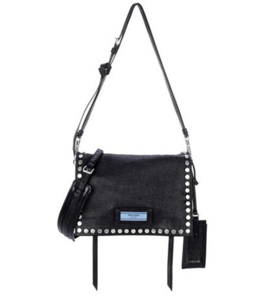 Prada embellished bag shoulder bag leather black