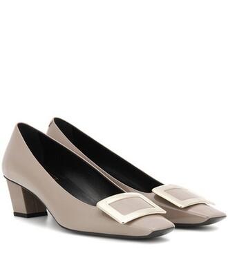 pumps leather grey shoes