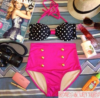 swimwear polka dots vintage cute pink vintage pin up pink polka dots
