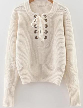 sweater girl girly girly wishlist cream lace up jumper knit