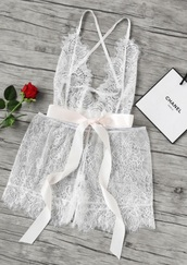 underwear,girly,white,lace,lace lingerie,one piece,see through,mesh,lingerie