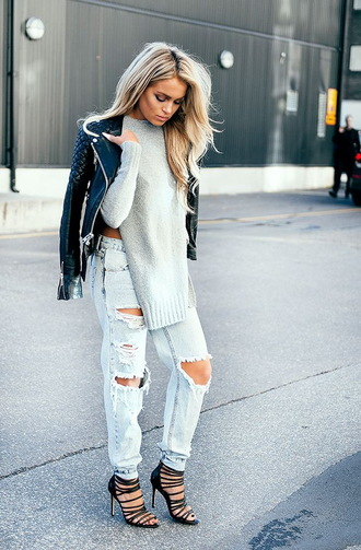 shoes grey sweater black leather jacket ripped jeans black strappy sandals blogger sweater