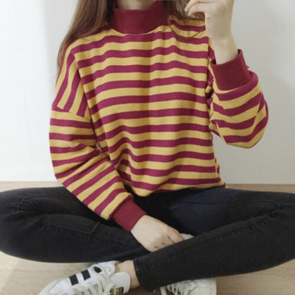 Shirt: style, red, yellow, sweater, striped sweater, stripes ...