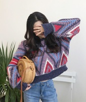 sweater,girly,knitwear,knit,knitted sweater,sweatshirt,jumper,geometric,print,colorful