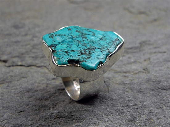 Large Turquoise Slice Ring