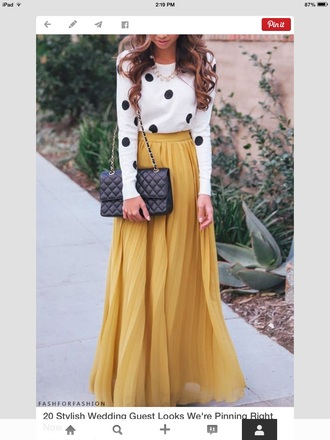 mustard yellow polka dots top mustard skirt maxi skirt maxi black leather bag black bag