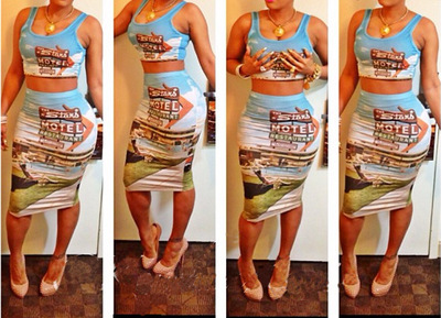 Two pieces print dress sexy fashion · fanewant · online store powered by storenvy