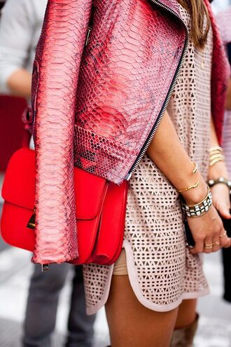 jacket pink leather jacket leather red purple snake print texture crocodile spring jacket