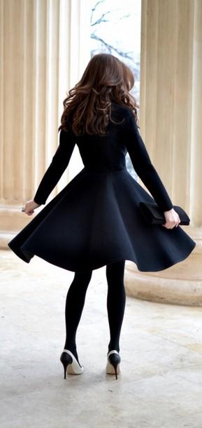 black coat dress fashion flare swing coat black coat pea coat black jacket classy jacket perfecto style shoes high hill black dress black long sleeve dress skirt skirt classy