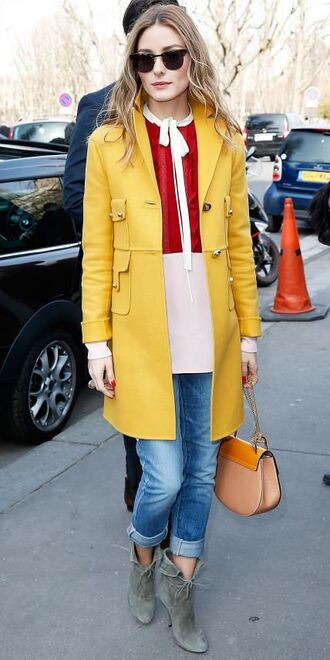 coat top denim olivia palermo boots blouse bag