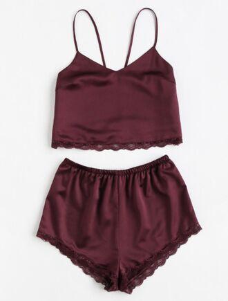 shorts girly burgundy two-piece satin silk lounge wear lounge lounge shorts lounge set lace crop tops crop