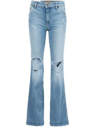 jeans flare women spandex cotton blue