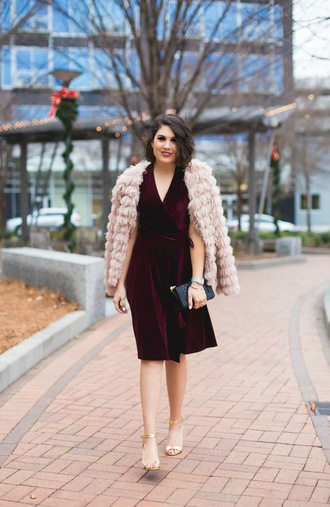 life & messy hair blogger dress shoes bag jacket jewels fur coat burgundy dress velvet dress high heel sandals sandals beige fur jacket