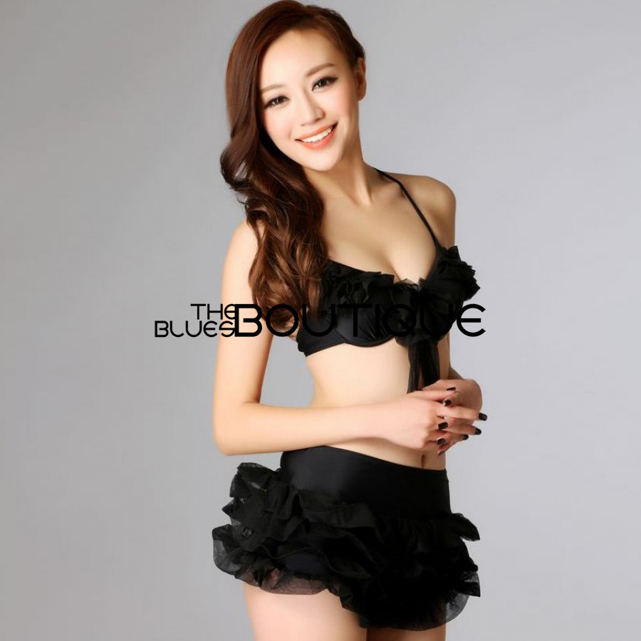 Halter Tiered Flower Bow Two Pieces Skirted Swimsuit For Women