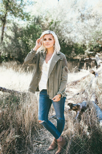 wild one forever - fashion & style by kristin blogger shoes jacket jeans t-shirt jewels army green jacket booties skinny jeans