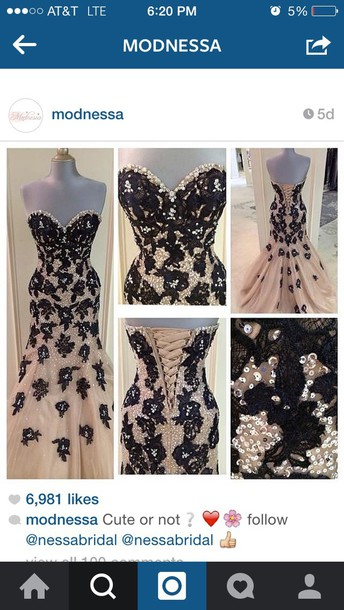 dress white with black flowers and sequins