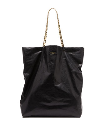 Lanvin Large Chain-Strap Lambskin Tote Bag, Black