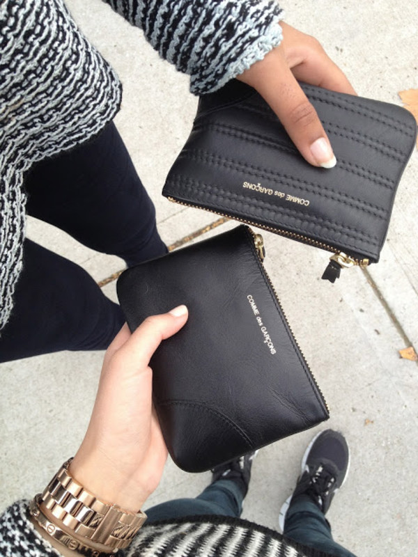 bag purse comme des garcons sweater black white knitwear wool jumper jeans fashion designer clutch