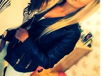 jacket leather jacket black zips biker jacket