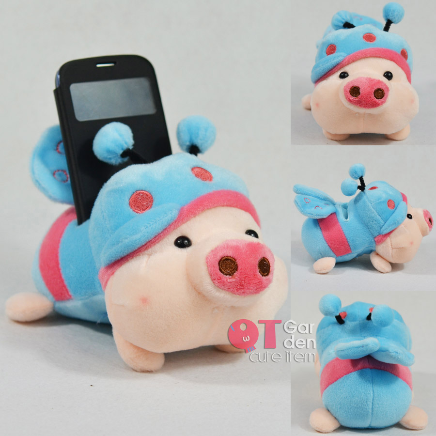 Cute Blue Bee Pig Mobile Phone Holder Seat Lovely Plush Animal