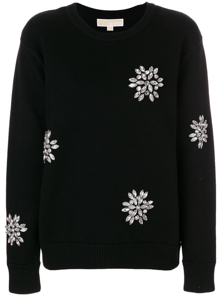 MICHAEL Michael Kors sweatshirt women spandex embellished cotton black sweater