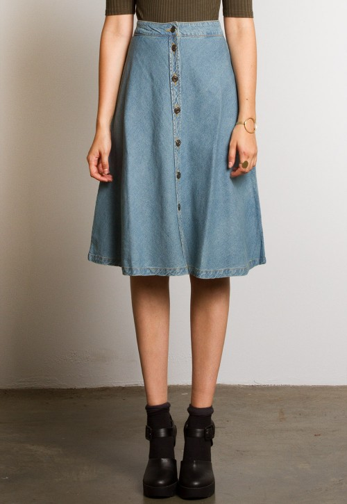 eb0c2b28aa4a8 Snap button front midi full denim skirt