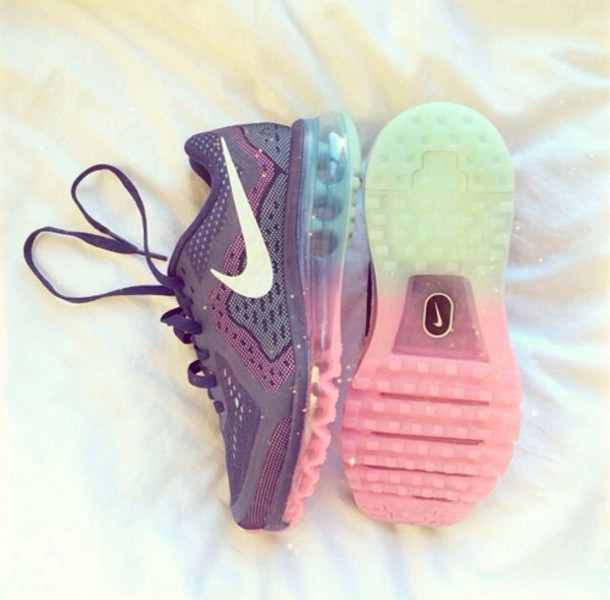Nike Pink And Green Running Shoes Shoes Nike Running Fitness