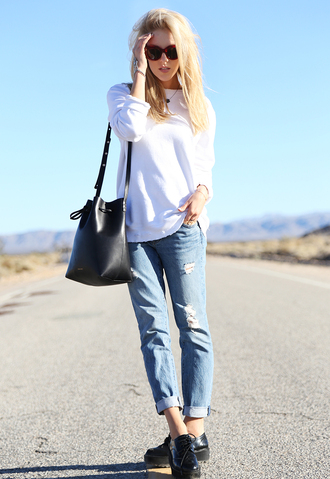 cheyenne meets chanel sweater jeans shoes jewels sunglasses bag