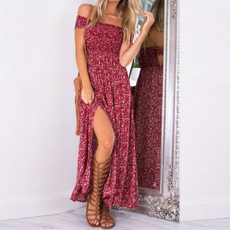 dress maxi dress summer dress slit dress off the shoulder