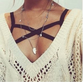 shirt ivory white sweater knitted sweater black strappy bra brallete necklace bra light brown strappy black sexy pinterest black brallette cream knitted sweater knitwear