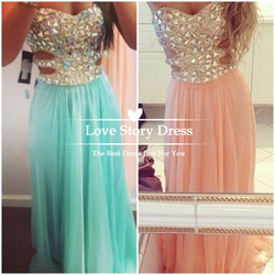 Online shop sexy 2014 new fashion strapless open back chiffon crystal rhinestones evening dresses long prom gown special occasion dresses