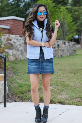 gracefullee made blogger jacket skirt shirt socks shoes jewels sunglasses make-up quilted vest