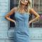 Blue spaghetti strap denim bodycon dress