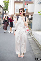 shoes,sandals,flat sandals,gold sandals,Gold low heel sandals,pants,white pants,wide-leg pants,top,white top,all white everything,sunglasses,cat eye,spring outfits,streetstyle